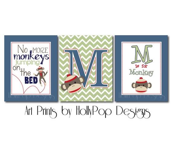 Baby Boy Nursery Decor-Sock Monkey Wall Art-Boy Bedroom Monkey | Etsy