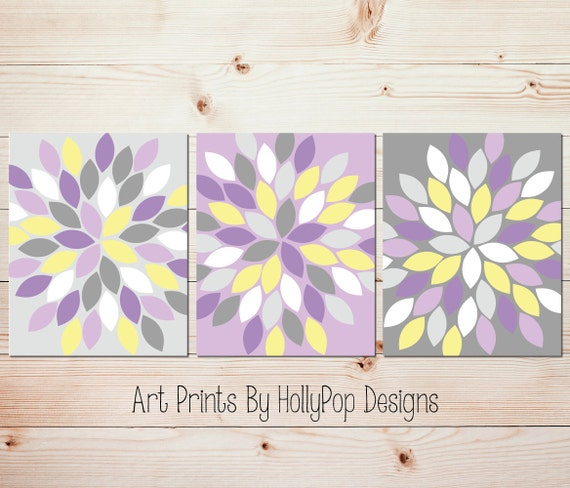 Purple Yellow Gray Wall Art Bedroom Wall Art Bathroom Wall Art Etsy