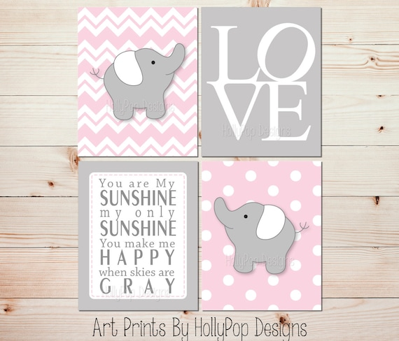 Elephant Twin Nursery Wall Art Nursery Room Decor For Twins: Pink Gray Nursery Art Elephant Nursery Prints Pink Nursery
