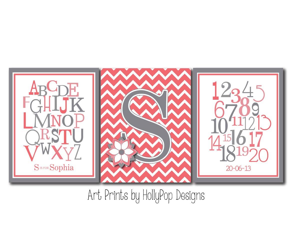 Nursery Art Prints ABC Alphabet Number Duo Typography Art | Etsy