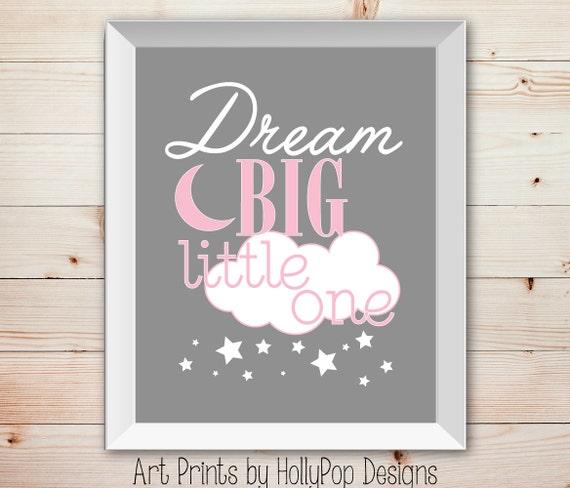 Dream Big Little one Pink Gray Nursery Wall Decor | Etsy