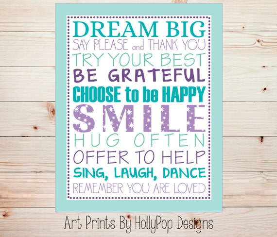 Image of: Art Image Etsy Inspirational Girl Quotes Purple Aqua Wall Art Quotes For Etsy