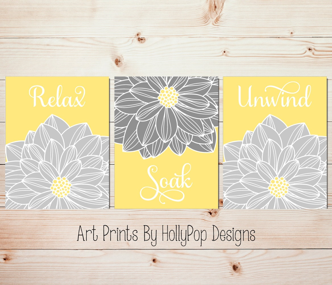 Yellow Gray Wall Art Bathroom Wall Art Relax Soak Unwind | Etsy