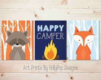 Baby boy nursery decor Woodland theme nursery Happy Camper art Raccoon art print Fox nursery decor Forest animals art Kids room art #1680