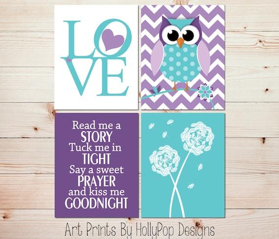 Girly Bedroom Items: Toddler Girl Bedroom Art LOVE Print Purple Owl Nursery Art