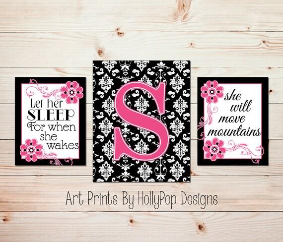 Hot Pink Black Wall Art Girls Room Wall Decor Baby Girl | Etsy