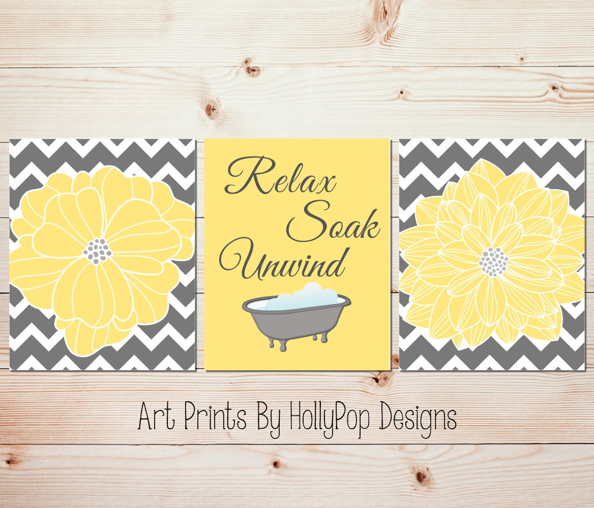 Yellow gray bathroom wall decor Bathroom art prints Yellow | Etsy