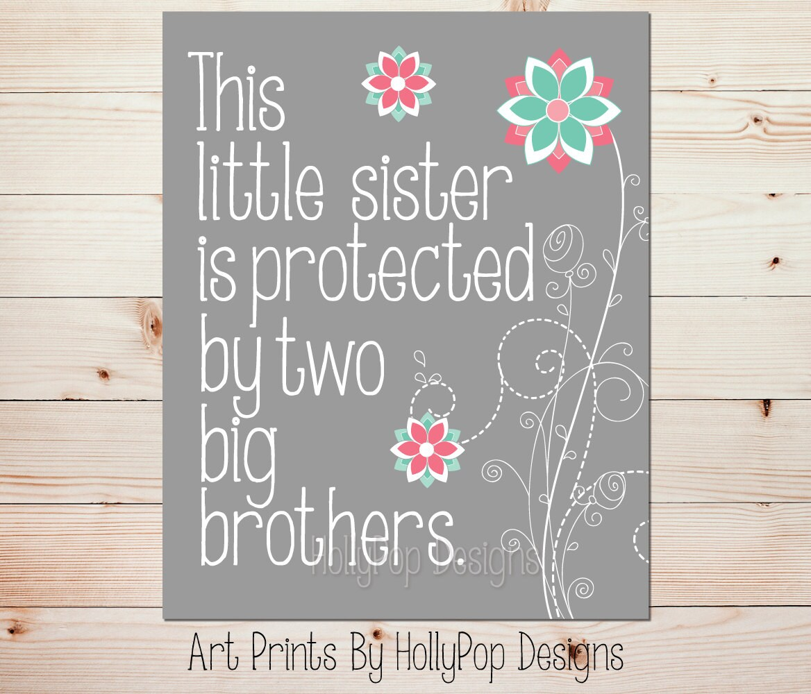 This Little Sister Print Pink Mint Wall Art Sister Brother Etsy