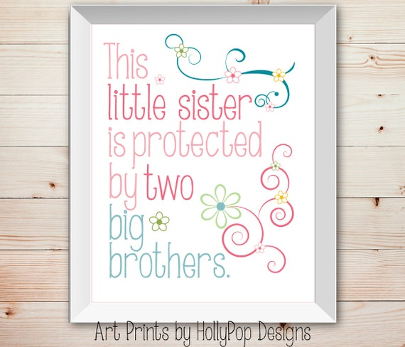 Nursery Wall Decor Baby Girl Little Sister Big Brother Kids Etsy
