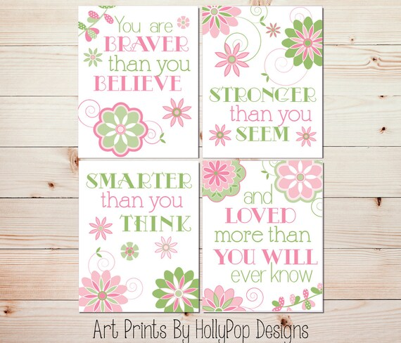 Pink Green Nursery Art Baby Girl Wall Art Girls Room Decor You are Braver  Quote Floral Nursery Decor Baby Decor Toddler Girl Bedroom #1118