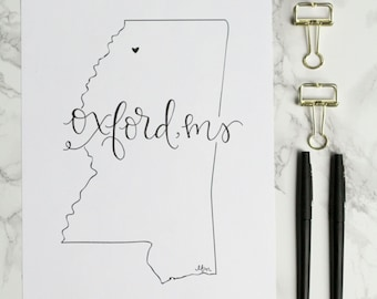 Oxford Mississippi Hand-lettered Calligraphy Print - Wall Art - Home Decor - Hotty Toddy - Rebels - University of Mississippi - Game Day