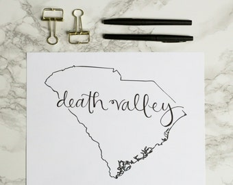 Clemson University Tigers Death Valley Hand-lettered Calligraphy Print - Wall Art - Home Decor - National Champions - South Carolina
