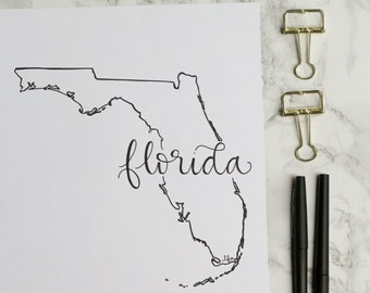 Florida Hand-lettered Calligraphy State Outline Print - Wall Art - Home Decor - Hometown - Miami - Orlando - Tallahassee - Gators - Seminole