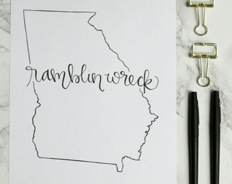 Georgia Tech Ramblin Wreck Hand-lettered Calligraphy State Outline Print - Wall Art - Home Decor - Yellow Jackets - Atlanta - College