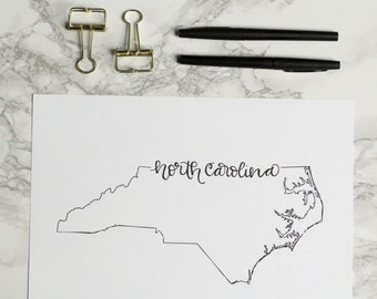 North Carolina Hand-lettered Calligraphy Print - Wall Art - Home Decor - Charlotte - Raleigh - Wilmington - Chapel Hill - Durham - NC State