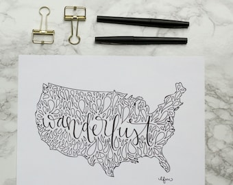 United States Wanderlust Hand-lettered Calligraphy Print - Wall Art - Home Decor - USA - America - Travel Art - Adventure - Travel Bug