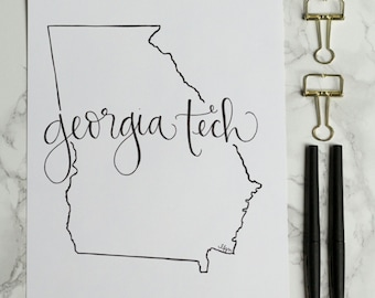 Georgia Tech Yellow Jackets Hand-lettered Calligraphy State Outline Print - Wall Art - Home Decor - Georgia Tech - Atlanta -College Game Day