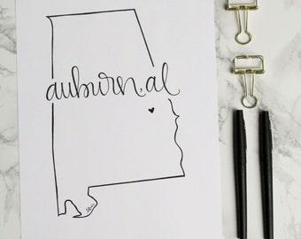 Auburn, Alabama Hand-lettered Calligraphy State Outline Print - Wall Art - Home Decor - Hometown - Auburn University - War Eagle - Tigers