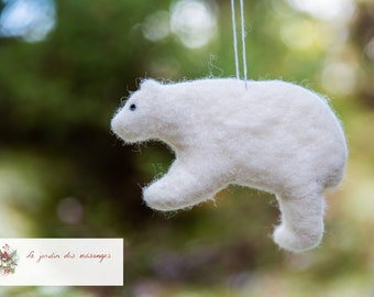 Polar bear- Needle felted wool - Natural and ecofriendly