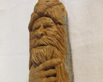 Wood Spirit,Mountain Man, Hand carved in Missouri, Cottonwood Bark, One of a Kind, Gift for him, Art, Rustic Log Cabin Decor,