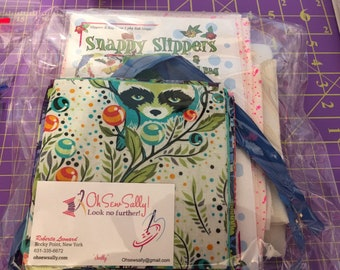 Snappy Slippers and Travel Bag Kit Featuring Tula Pink Fabrics