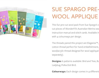 Pre-Cut Wool Applique Packs - 2 Designers Sue Spargo and Wendy Williams