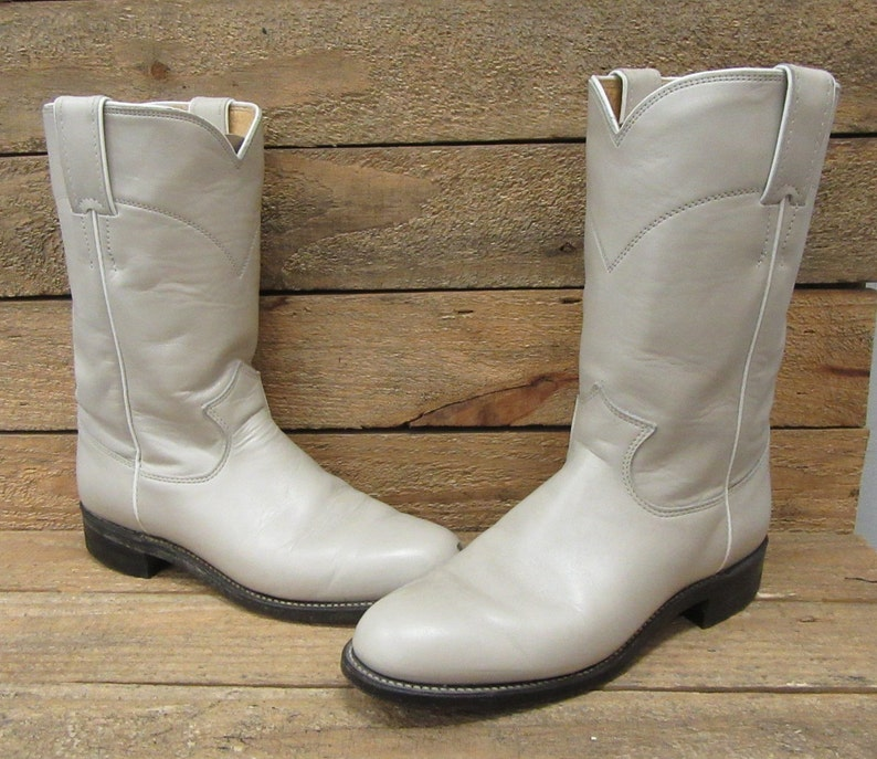 9322439c780 Justin Ladies Roper Pearlized Beige Cowgirl Western Boots Sz 6B