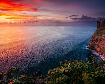Uluwatu Temple Ocean Sunset Bali - Bali Photos - Travel Photography - Tropical decor - Ocean & Beach Decor - Large Wall Art
