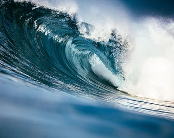 Perfect Blue Ocean Wave - Big Wave Photography - Surf Photography - Large Wall Art - Ocean & Beach Decor - Blue Wall Decor - Sea Photo