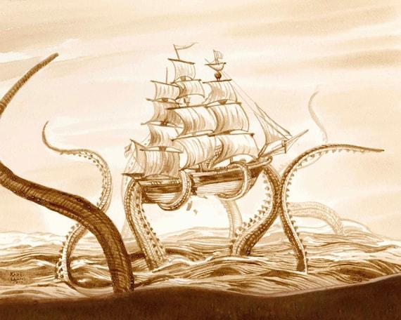 Colored Octopus Kraken Attack Galleon Sailing Ship Design Custom Shower Curtain
