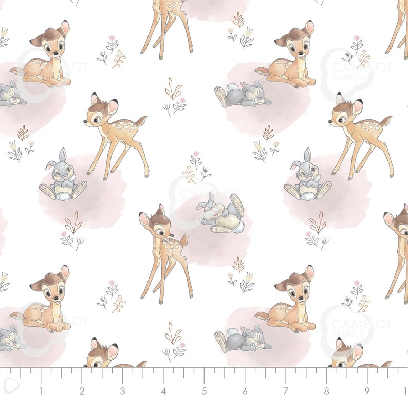 Disney BAMBI and THUMPER By-the-HALF-Yard Pink and White 100/% cotton Quilt Fabric from Camelot Fabrics deer fawn rabbit bunny