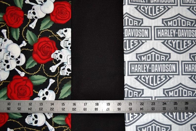 Skulls and Roses /& Black Quilt Fabric motorcycle biker hot rod 3 yards 1 yd  each HARLEY DAVIDSON Shield Logo