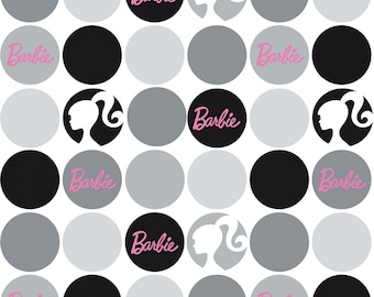 Mattel BARBIE Doll 1950s vintage look fabric 100% cotton from Riley Blake Designs the RBD collection Large Gray Polka Dots on White C9732R