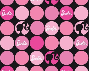 Mattel BARBIE Doll 1950s vintage look fabric 100% cotton from Riley Blake Designs the RBD collection Large Pink Polka Dots on Black C9732R