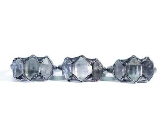 Silver Herkimer Diamond Ring   Triple Herkimer Ring   Raw Diamond Ring   Alternative Engagement Ring   Raw Crystal Ring   Raw Stone Ring