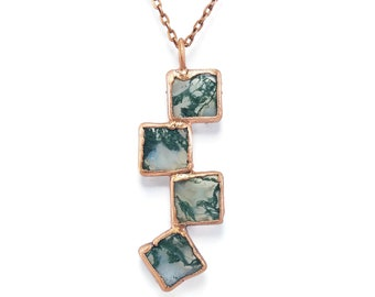 Moss Agate Necklace | Raw Moss Agate Jewelry | Moss Agate Pendant | Electroformed Copper | Crystal Natural