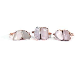 Raw Rose Quartz Ring   Rose Quartz Ring   Copper Rose Quartz Ring   Rose Quartz Birthstone Ring   Stacking Ring   Multi Stone Ring   Boho