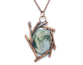 Moss Agate Necklace Jewelry | Raw Electroformed Copper Pendant | Natural Crystal