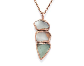 Raw Sea Glass Necklace | Sea Glass Jewelry | Sea Glass Pendant | Seaglass | Raw Electroformed Copper | Natural Crystal