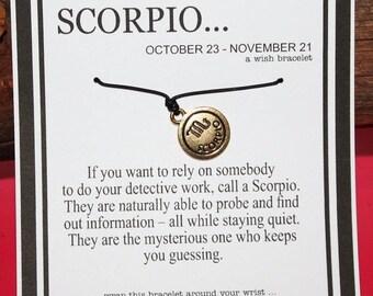 ON SALE     Aquarius Zodiac Wish Bracelet With 2-Sided Gold