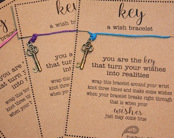 12 Large KEY Wish Bracelet s - Make A Wish - Birthday ... Gifts ... Party Favors ... Inspiration
