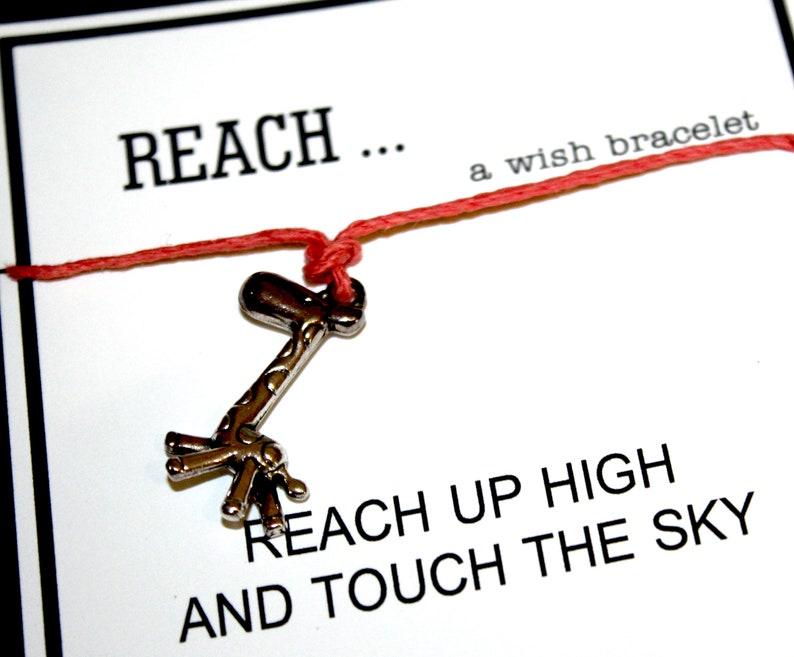 Inspiration .. REACH Gift Giraffe -- 1 Single Wish Bracelet Pick Your Hemp Color ..