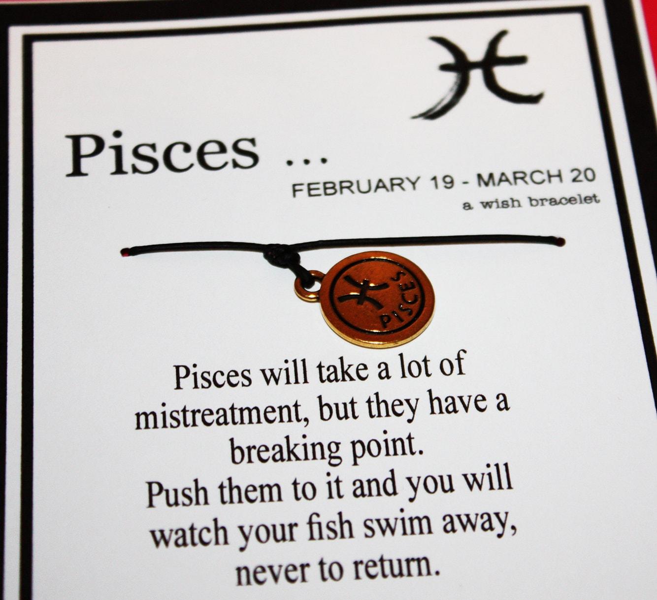 Pisces Zodiac Round Gold Tone Wish Bracelet -- Wishes