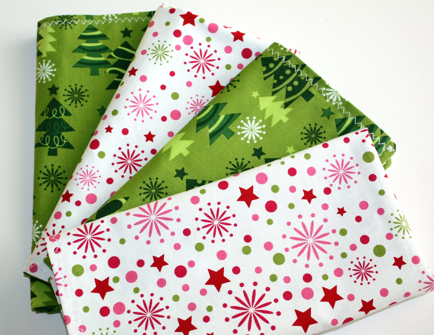 SALE! Set Of Four Reversible 17 Cotton Christmas Holiday