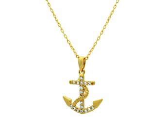 Gold Anchor Necklace - 14K Gold Filled Dainty Anchor Necklace, Tiny Gold Anchor Charm Minimalist Pendant