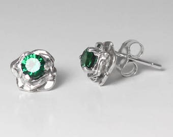 Natural Emerald Earrings Sterling Silver / Emerald Stud Earrings Rose-Shaped