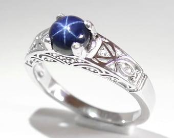 Blue Star Sapphire Ring Silver / Genuine Blue Star Sapphire Ring Sterling Silver