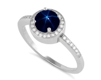 Blue Star Sapphire Ring Sterling Silver / Genuine Blue Star Sapphire Halo Ring