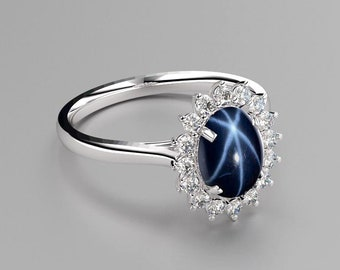 Blue Star Sapphire Ring Sterling Silver / Blue Star Sapphire Halo Ring Silver