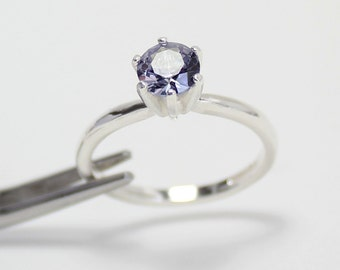 Color-Changing Alexandrite Engagement Ring Sterling Silver / LAB Alexandrite Sterling Silver Ring